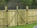 Double Swing Gate with Iron Lattice Accent