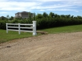 White 3 Rail Ranch with Liberty Post & Attached Mailbox